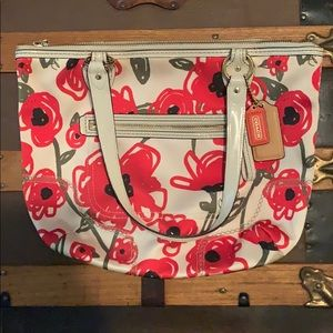 Coach Poppy Floral Bag, Red and White